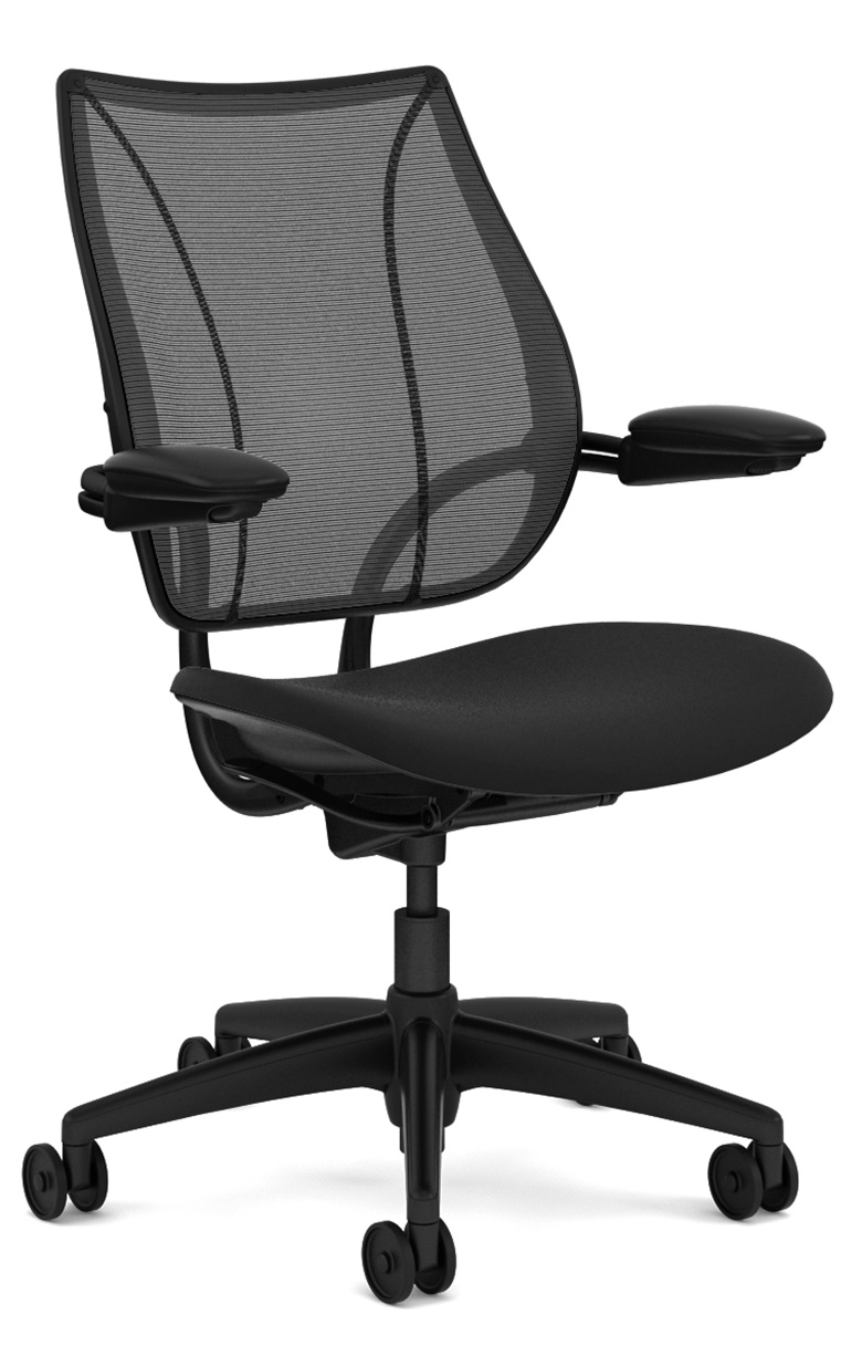 Humanscale Liberty Task Chair, Adjustable Duron Arms, Monofilament Mesh Back in Black, Oxygen Fabric Seat in Inhale (Black), Black Base