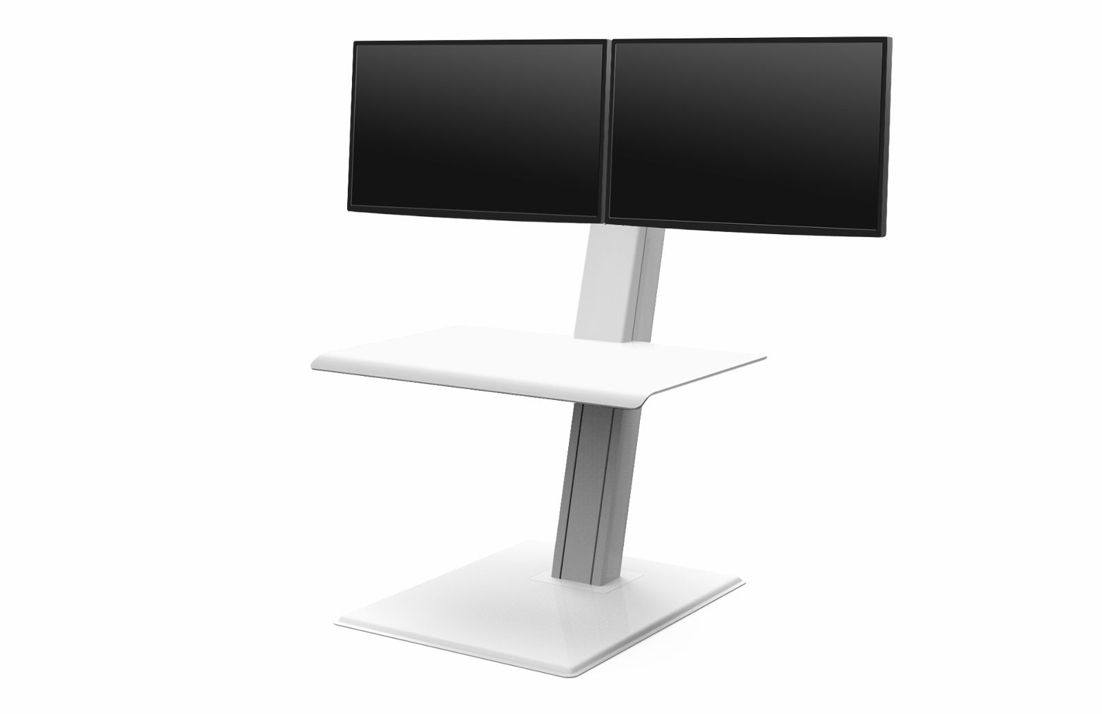 "Humanscale Quickstand ECO Sit/Stand Workstation for Dual Monitors (2 x 27"" monitors), Freestanding in White"