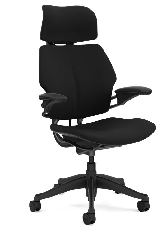 Humanscale Freedom Chair with Headrest, Standard Duron Arms, Oxygen Fabric in Inhale (Black), Graphite Base
