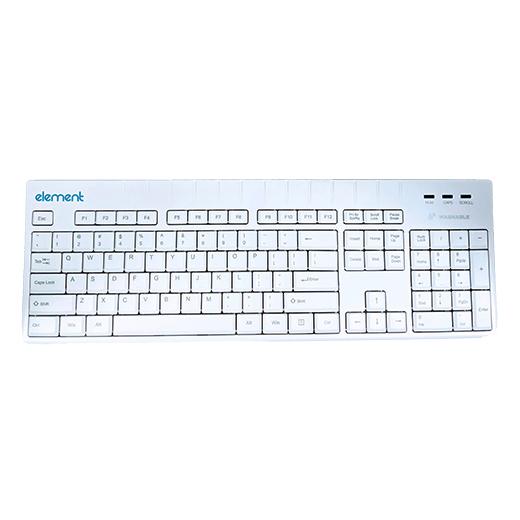 Element Medical Grade Washable Keyboard ECT104-BL, 104 Keys, USB, IP68, White