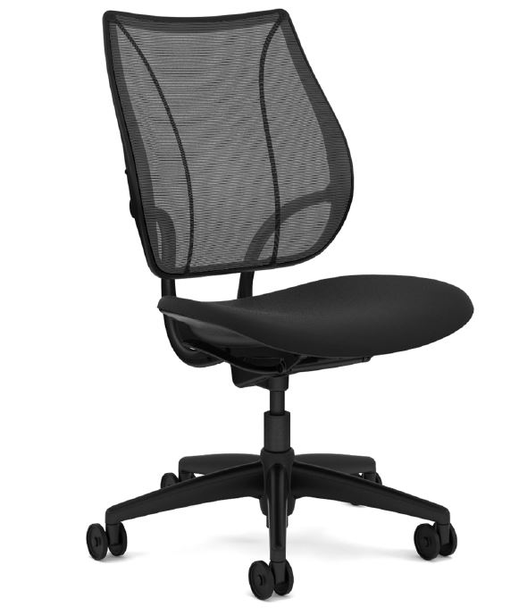 Humanscale Liberty Task Chair, Armless, Monofilament Mesh Back in Black, Oxygen Fabric Seat in Inhale (Black), Black Base