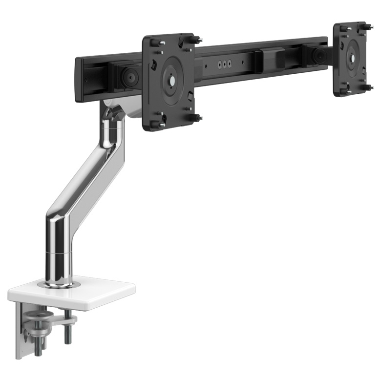 Humanscale M8.1 Dual Monitor Arm, Angled/Dynamic Arm Link,Clamp Mount, Polished Aluminium with White Trim (Capacity: 2 x 27in monitors, up to 12.7kg t