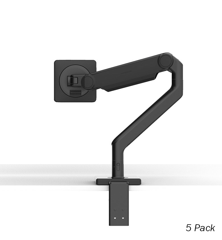 Humanscale M2.1 Single Monitor Arm, Angled/Dynamic Arm Link, Clamp Mount in Black with Black Trim - 5 pack - (Capacity: up to 7kg total)