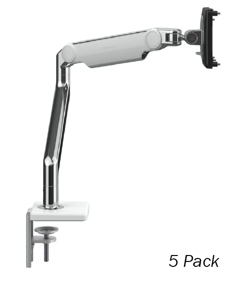 Humanscale M2.1 Single Monitor Arm, Angled/Dynamic Arm Link, Clamp Mount in Polished Aluminium with White Trim - 5 pack - (Capacity: up to 7kg total)