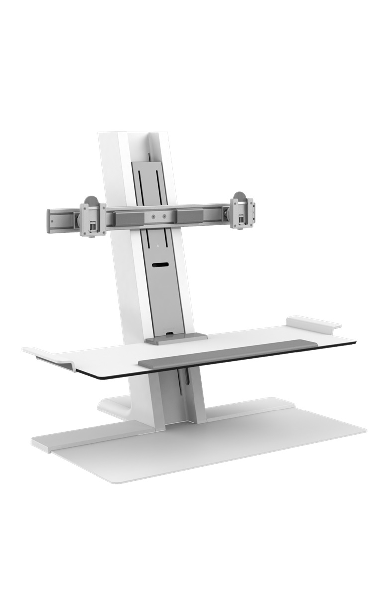 HUMANSCALE QUICKSTAND DUAL SP FREESTANDING WHI
