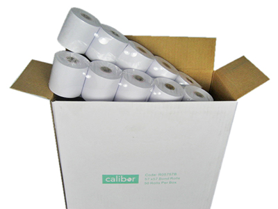 CALIBOR BOND PAPER 57X57 50 ROLLS / BOX