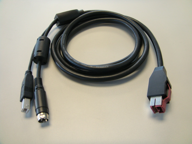 CABLE PRINTER 24V POWERED USB TO HOSIDEN & USB B 3M BLACK